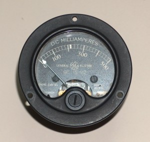 Ammeter, 0 to 500 mA DC, GENERAL ELECTRIC